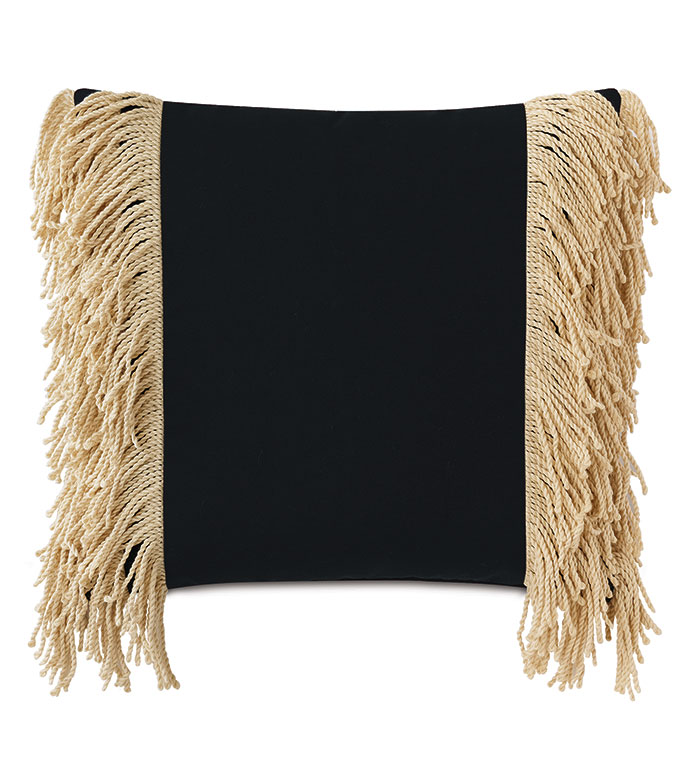 Palermo Fringe Decorative Pillow in Black - ,20X20 PILLOW,SQUARE PILLOW,MEDIUM PILLOW,BLACK PILLOW,FRINGE TRIM,FRINGE PILLOW,OUTDOOR PILLOW,OUTDOOR DECOR,WATER-RESISTANT PILLOW,BLACK THROW PILLOW,