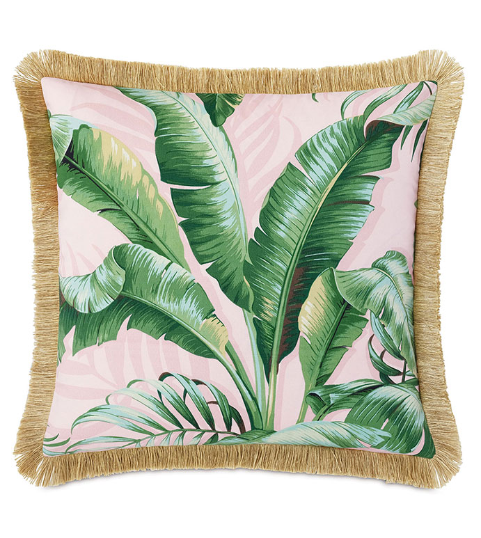 Abaca Fringe Decorative Pillow in Flamingo - ,BRUSH FRINGE,FRINGE PILLOW,OUTDOOR PILLOW,BANANA LEAF PILLOW,BANANA LEAF PRINT,DECORATIVE PILLOW,OUTDOOR DECOR,TROPICAL PILLOW,TROPICAL DECOR,BOTANICAL PILLOW,CORAL PILLOW,