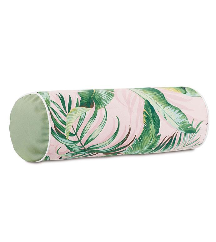 Abaca Banana Leaf Bolster in Flamingo - ,LONG PILLOW,OBLONG PILLOW,OUTDOOR PILLOW,OUTDOOR DECOR,TROPICAL PILLOW,TROPICAL DECOR,CORAL PILLOW,TROPICAL PRINT,LUXURY OUTDOOR,PATIO PILLOW,