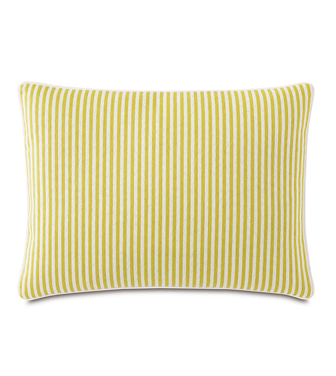 Villa Reversible Decorative Pillow in Lemon - ,RECTANGLE PILLOW,LONG PILLOW,STRIPED PILLOW,CITRON PILLOW,TEAL PILLOW,COASTAL DECOR,NAUTICAL DECOR,OUTDOOR PILLOW,OUTDOOR DECOR,WELT EDGE,LARGE PILLOW,