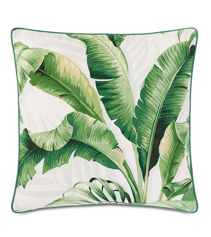 Abaca Banana Leaf Decorative Pillow in Cloud - ,OUTDOOR PILLOW,OUTDOOR DECOR,TROPICAL PILLOW,BANANA LEAF PILLOW,BANANA LEAF PRINT,LUXURY OUTDOOR,GREEN PILLOW,PATIO PILLOW,BOTANICAL PRINT,TROPICAL DECOR,