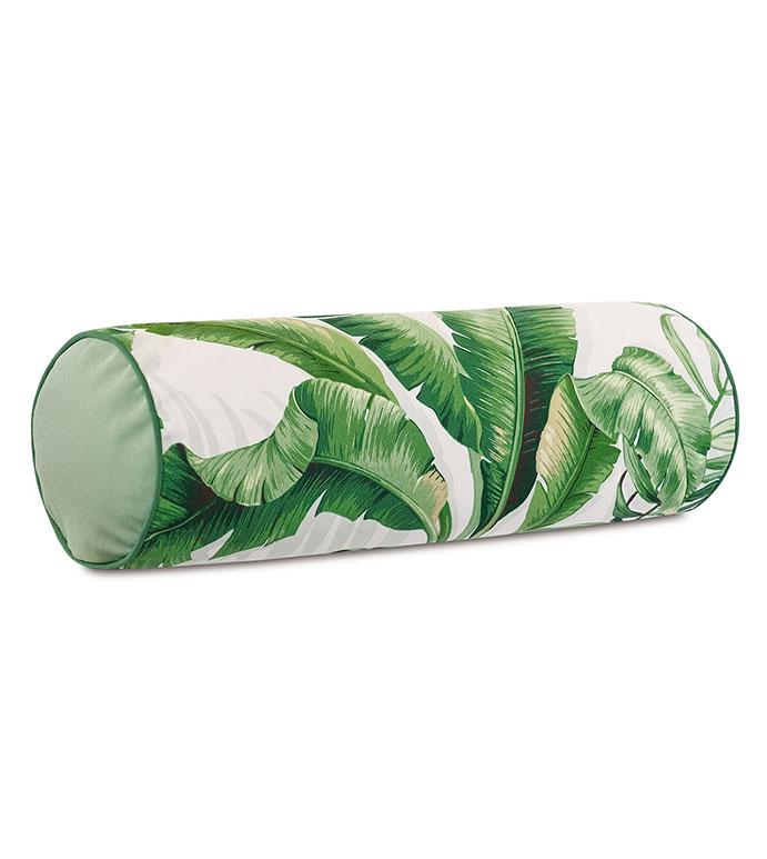 Abaca Banana Leaf Bolster in Cloud - ,LONG PILLOW,OBLONG PILLOW,OUTDOOR PILLOW,OUTDOOR DECOR,OUTDOOR NECKROLL,,BANANA LEAF PRINT,TROPICAL PILLOW,TROPICAL DECOR,LUXURY OUTDOOR,TROPICAL PRINT,PATIO PILLOW,