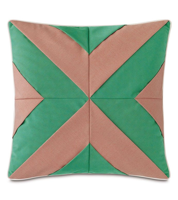 Plage Mitered Decorative Pillow - ,22X22 PILLOW,SQUARE PILLOW,LARGE PILLOW,OUTDOOR PILLOW,GREEN PILLOW,WATER-RESISTANT FABRIC,OUTDOOR DECOR,OUTDOOR THROW PILLOW,MITERED DESIGN,