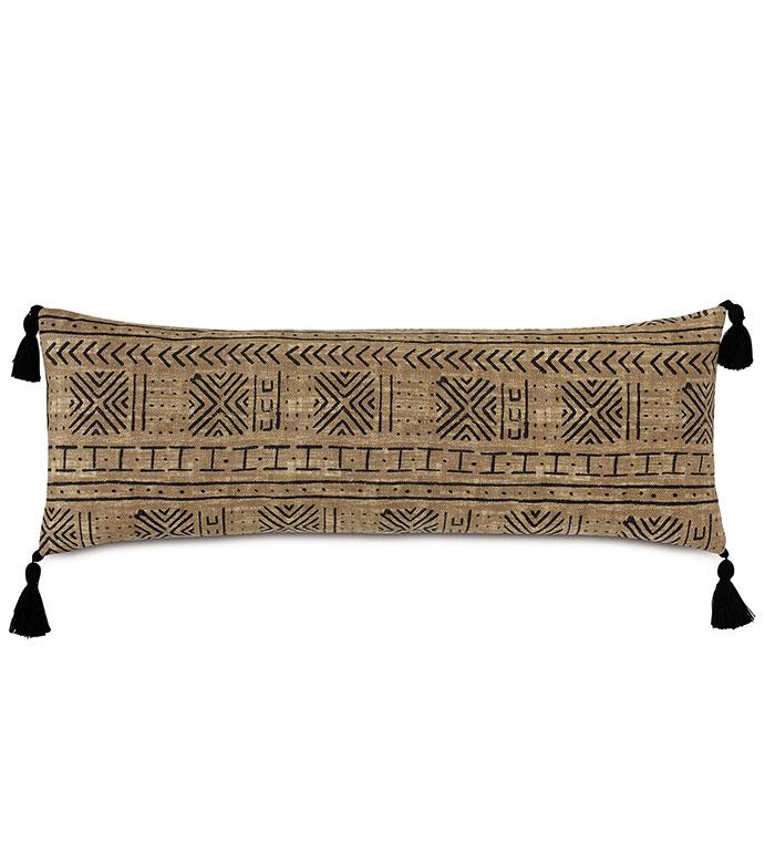 Seydou Tassel Decorative Pillow in Natural - ,RECTANGLE PILLOW,OBLONG PILLOW,FRINGE DETAIL,FRINGE PILLOW,ETHNIC PRINT,LONG PILLOW,SQUARE PILLOW,GLOBAL DECOR,OUTDOOR PILLOW,OUTDOOR DECOR,ABSTRACT PRINT,