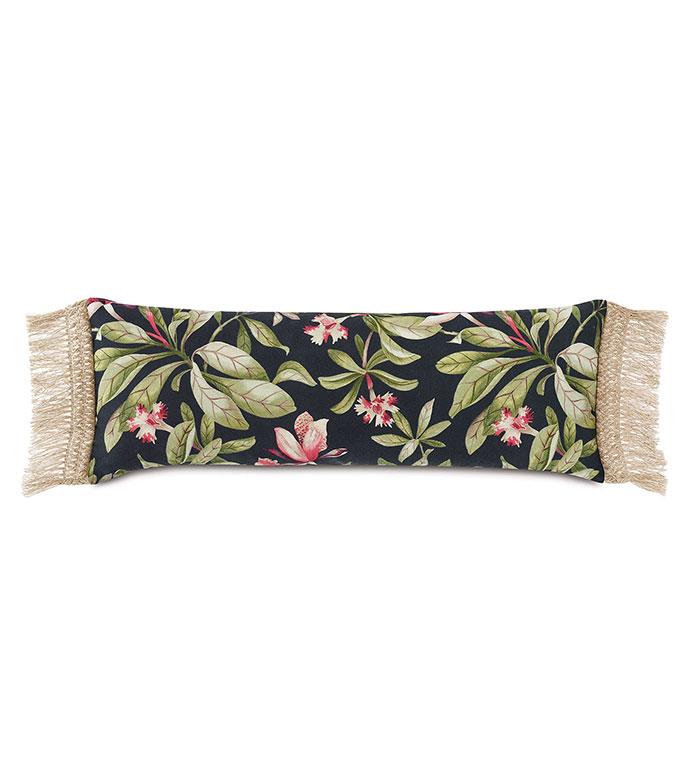 Kamehameha Fringe Edge Decorative Pillow - ,OVERSIZED PILLOW,RECTANGLE PILLOW,BOLSTER PILLOW,TROPICAL PRINT,BLACK BOLSTER,FLORAL PILLOW,OUTDOOR PILLOW,FRINGE TRIM,FRINGE PILLOW,TROPICAL DECOR,LONG PILLOW,
