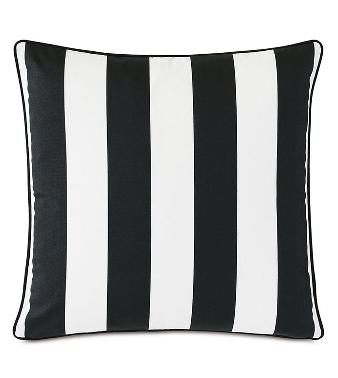 Kubo Vertical Stripe Decorative Pillow - ,22X22 PILLOW,LARGE PILLOW,SQUARE PILLOW,VERTICAL STRIPE,STRIPED PILLOW,BLACK AND WHITE PILLOW,OUTDOOR PILLOW,OUTDOOR DECOR,DECORATIVE PILLOW,