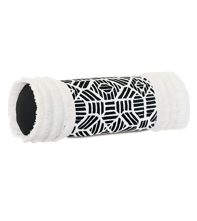 Madaba Fringe Bolster - ,bolster pillow,neckroll pillow,oblong pillow,ikat pattern,brush fringe,fringe bolster,outdoor bolster,black and white bolster,outdoor decor,