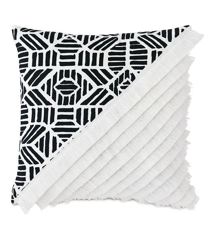 Madaba Colorblock Decorative Pillow (Right) - ,20x20 pillow,black and white pillow,knife edge pillow,brush fringe,fringe pillow,colorblock,ethnic print,outdoor pillow,square pillow,outdoor throw pillow,outdoor decor,