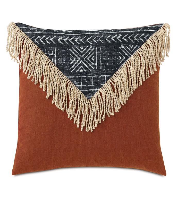 Seydou Color Block Decorative Pillow in Black - ,20X20 PILLOW,FRINGE DETAIL,FRINGE PILLOW,ETHNIC PRINT,MEDIUM PILLOW,SQUARE PILLOW,GLOBAL DECOR,OUTDOOR PILLOW,OUTDOOR DECOR,COLORBLOCK PILLOW,