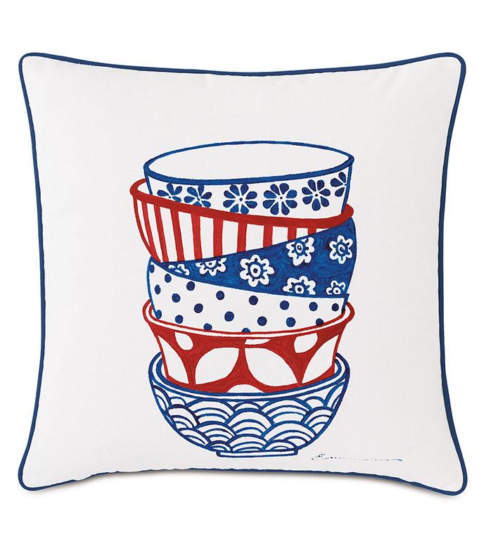 Porcelain Bowl Decorative Pillow - ,20X20 PILLOW,DECORATIVE PILLOW,HANDPAINTED PILLOW,OUTDOOR PILLOW,OUTDOOR DECOR,SQUARE PILLOW,WHITE PILLOW,POTTERY DESIGN,MEDIUM PILLOW,
