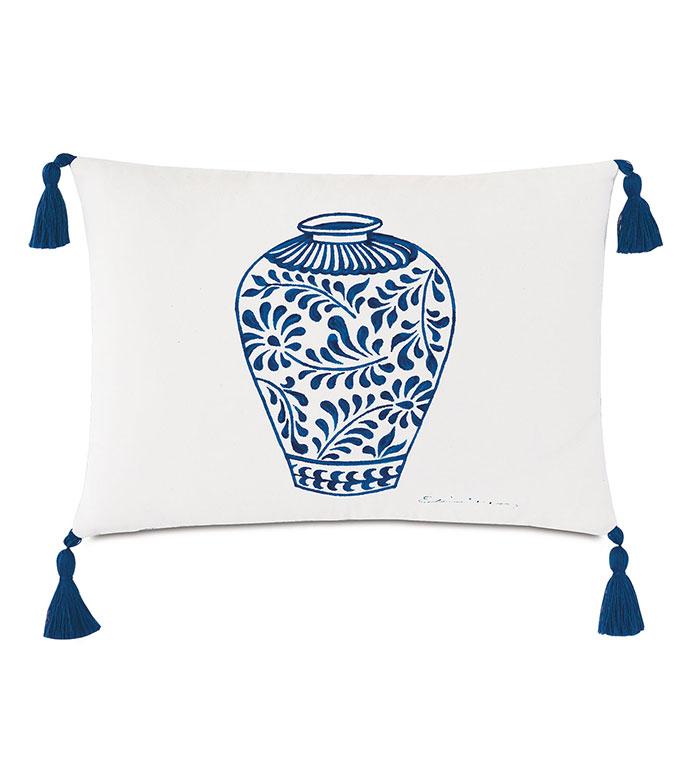 Porcelain Vase Decorative Pillow - ,RECTANGLE PILLOW,TASSELS,TASSEL TRIM,LARGE PILLOW,DECORATIVE PILLOW,HANDPAINTED PILLOW,OUTDOOR PILLOW,OUTDOOR DECOR,WHITE PILLOW,POTTERY DESIGN,