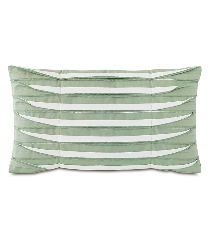 Plisse Pleated Decorative PIllow in Celadon - ,rectangle pillow,green pillow,unfinished edge,overlock edge,pleats,pleated pillow,outdoor pillow,outdoor decor,long pillow,medium pillow,outdoor throw pillow,