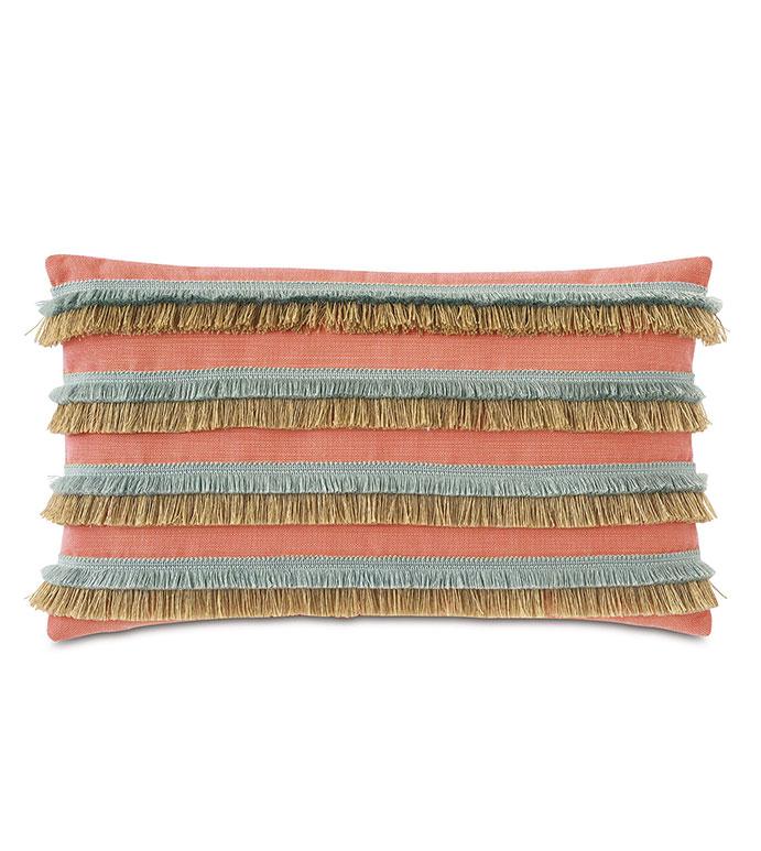 Nocatee Fringe Decorative Pillow in Carnation - ,RECTANGLE PILLOW,DECORATIVE PILLOW,BRUSH FRINGE TRIM,FRINGE PILLOW,CORAL PILLOW,OUTDOOR PILLOW,TROPICAL PILLOW,OUTDOOR DECOR,WEATHER RESISTANT PILLOW,JUTE FRINGE,