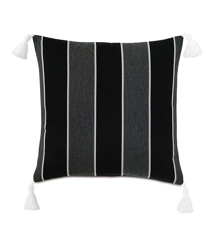 Arcos Tassel Decorative Pillow - ,20X20 PILLOW,STRIPED PILLOW,TASSEL TRIM,TASSEL PILLOW,OUTDOOR PILLOW,BLACK AND GREY PILLOW,OUTDOOR DECOR,TASSELS,BLACK PILLOW,MONOCHROME PILLOW,BLACK PILLOW,LUXURY OUTDOOR,