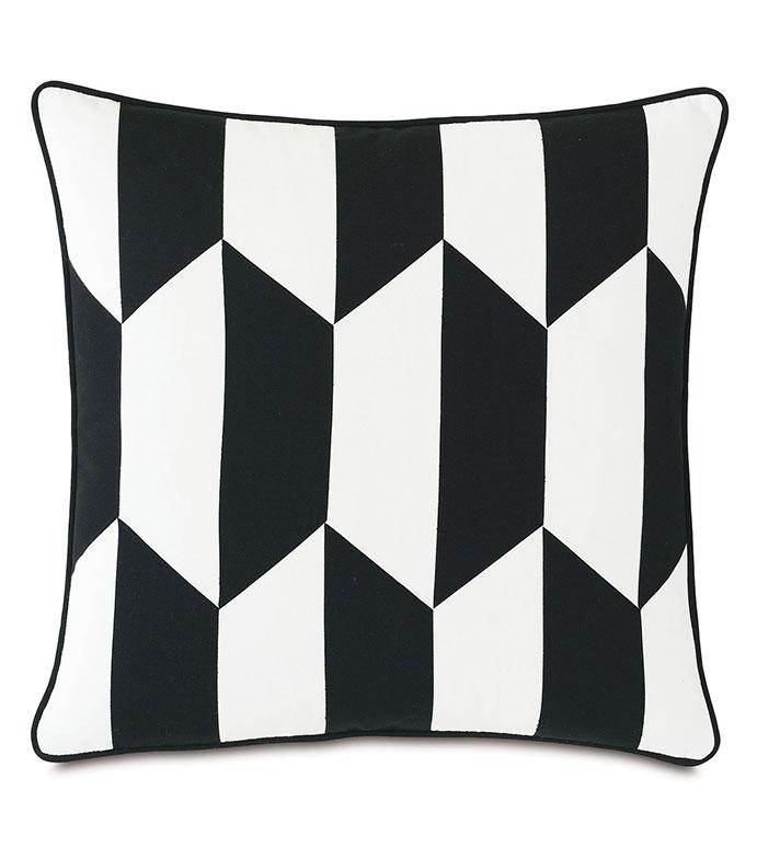 Kubo Patchwork Decorative Pillow - ,20X20 PILLOW,SQUARE PILLOW,LASER CUT PILLOW,BALCK AND WHITE PILLOW,GEOMETRIC PILLOW,OUTDOOR PILLOW,OUTDOOR DECOR,MONOCHROME PILLOW,MEDIUM PILLOW,