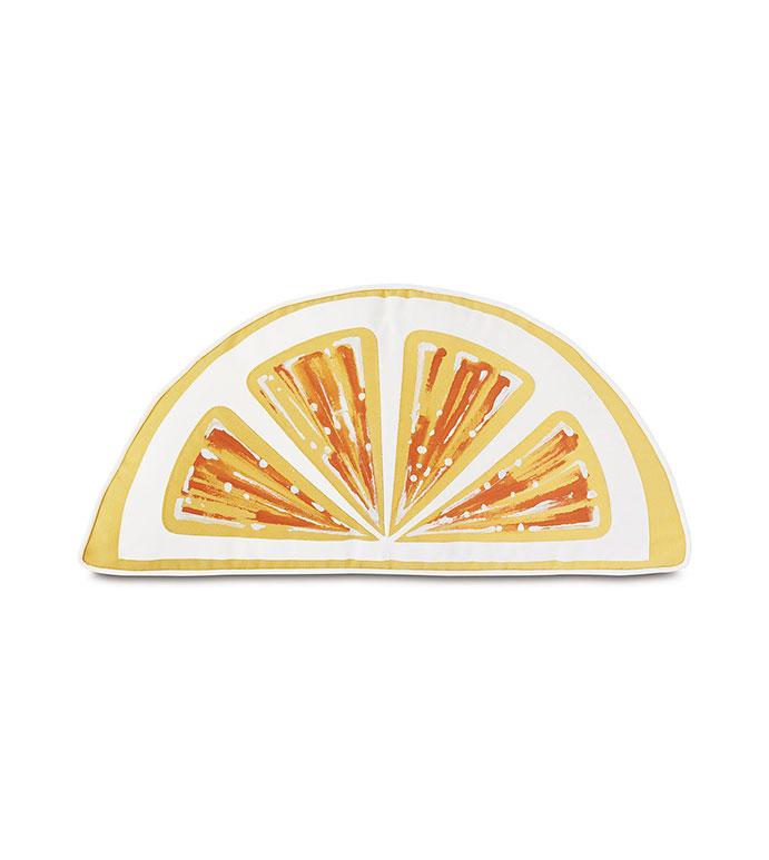 Palencia Handpainted Citrus Decorative Pillow in Yellow - ,WEDGE PILLOW,CITRUS SHAPE PILLOW,HAND-PAINTED PILLOWYELLOW PILLOW,OUTDOOR PILLOW,LASER CUT PILLOW,LEMON SLICE PILLOW,LARGE OUTDOOR PILLOW,OUTDOOR DECOR,WEDGE SHAPE,