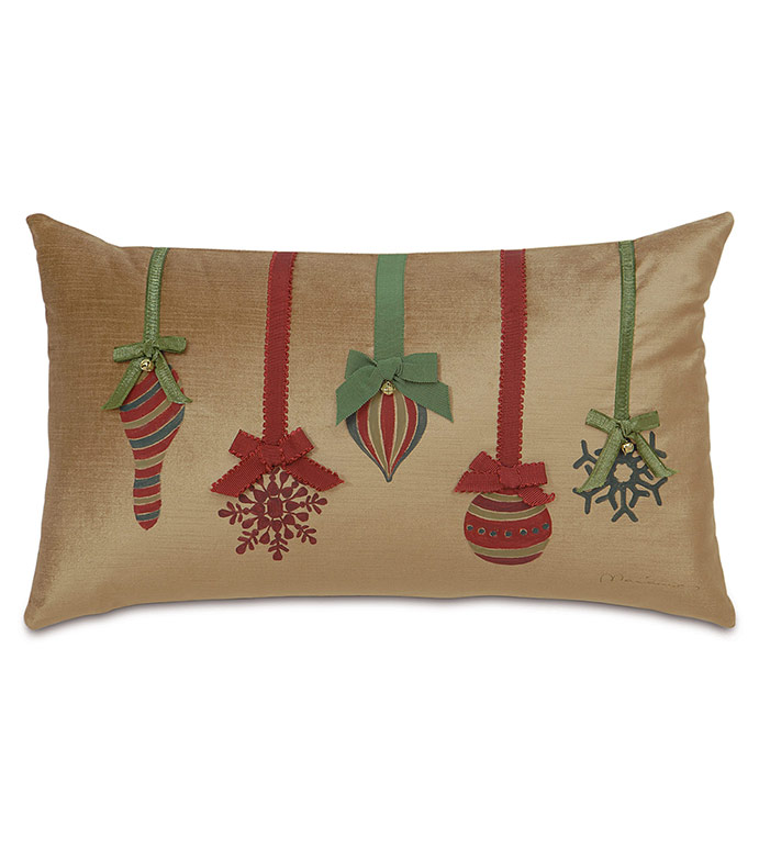 Lucerne Ornaments Decorative Pillow in Gold - ,CHRISTMAS ORNAMENTS PILLOW,CHRISTMAS DECOR,XMAS DECOR,XMAS PILLOW,CHRISTMAS PILLOW,GOLD HOLIDAY DECOR,CHRISTMAS ORNAMENTS,CHRISTMAS DECORATIONS,LUXURY HOLIDAY DECOR,