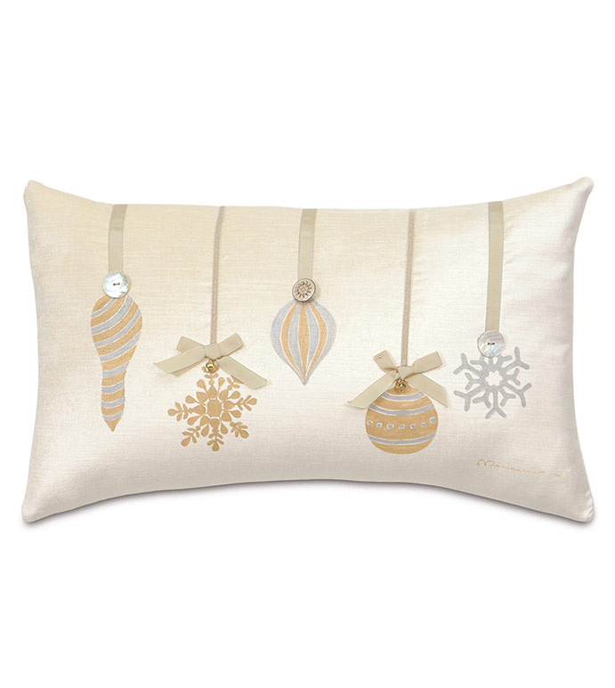 Lucerne Ornaments Decorative Pillow in Ivory - ,CHRISTMAS ORNAMENTS PILLOW,CHRISTMAS ORNAMENTS,CHRISTMAS PILLOW,CHRISTMAS DECOR,CHRISTMAS DECORATIONS,GLAM CHRISTMAS,IVORY CHRISTMAS DECORATIONS,HOLIDAY DECOR,