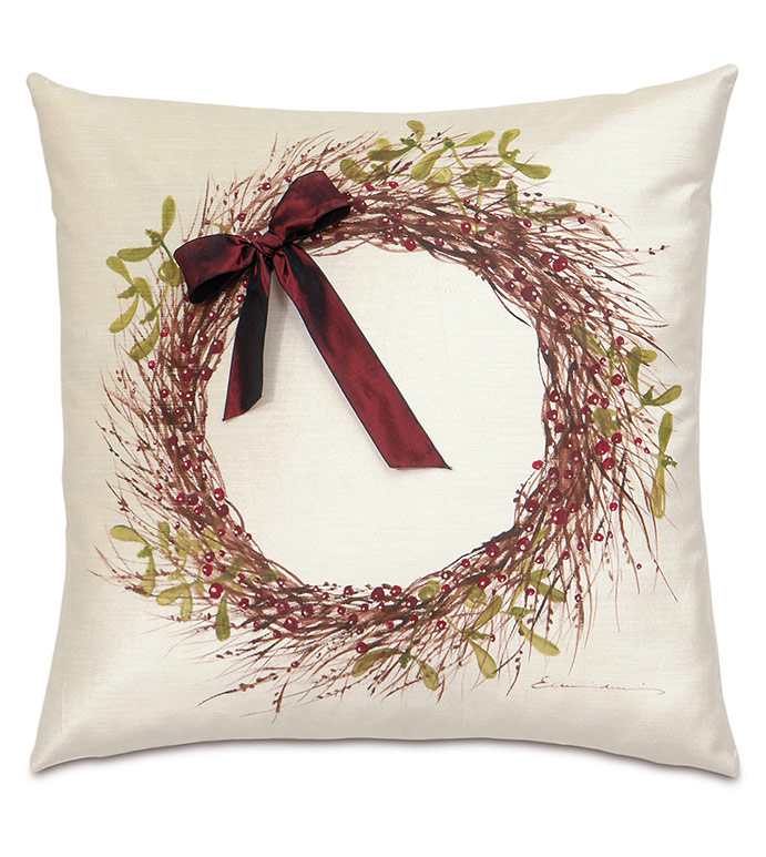 Wreath Handpainted Decorative Pillow in Red - ,WREATH PILLOW,CHRISTMAS WREATH,HOLLY WREATH,CHRISTMAS PILLOW,CHRISTMAS DECORATIONS,CHRISTMAS BEDDING,CHRISTMAS DECOR,HOLIDAY BEDDING,HANDPAINTED PILLOW,XMAS PILLOW,