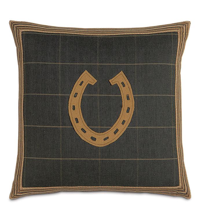 Gable Horseshoe Decorative Pillow - ,BROWN PLAID,PLAID PILLOW,BROWN TARTAN,HORSESHOE PILLOW,HORSE RACING,EQUESTRIAN PILLOW,EQUESTRIAN DECOR,PLAID DECOR,BROWN PILLOW,KENTUCKY DERBY,RUSTIC PILLOW,LODGE PILLOW,