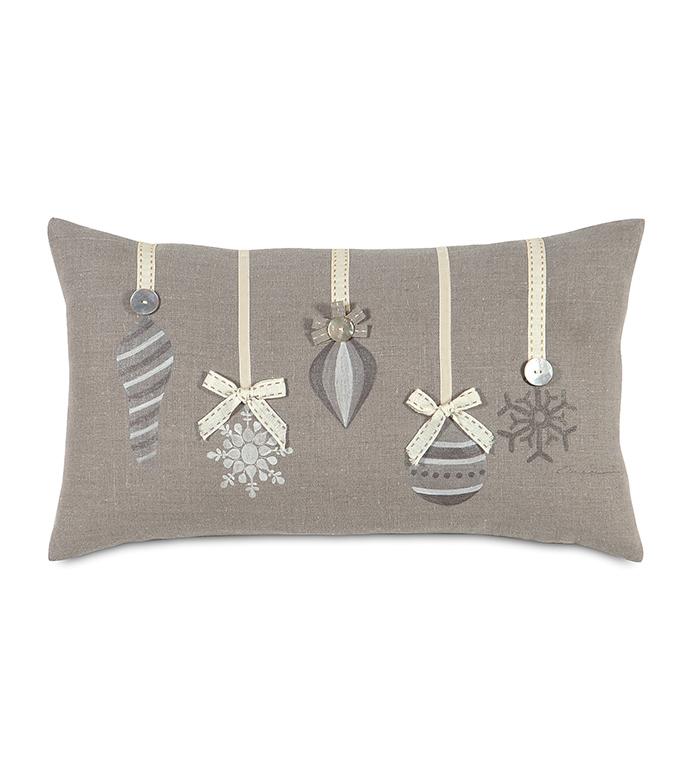 Wonka Ornaments Decorative Pillow - ,CHRISTMAS PILLOW,ORNAMENTS PILLOW,CHRISTMAS ORNAMENTS,CHRISTMAS BEDDING,CHRISTMAS LINEN PILLOW,SILVER CHRISTMAS,XMAS PILLOW,HOLIDAY DECOR,CHRISTMAS DECORATIONS,