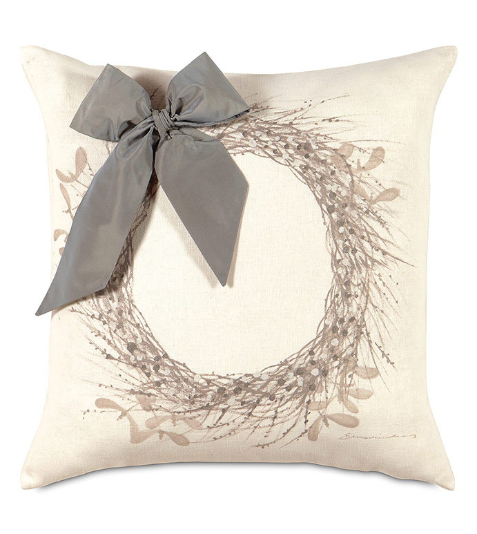 Wreath Handpainted Decorative Pillow in Silver - ,WREATH PILLOW,CHRISTMAS WREATH,HOLLY WREATH,CHRISTMAS PILLOW,CHRISTMAS DECORATIONS,CHRISTMAS BEDDING,CHRISTMAS DECOR,HOLIDAY BEDDING,HANDPAINTED PILLOW,XMAS PILLOW,