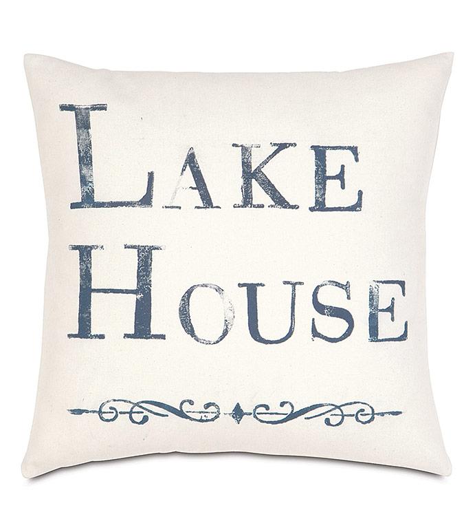 Lake Blockprinted Decorative Pillow - ,COTTON PILLOW,LAKE HOUSE,LAKE HOUSE DECOR,LODGE DECOR,LAKE PILLOW,BLOCKPRINTED PILLOW,LAKE HOUSE INTERIORS,COASTAL PILLOW,COASTAL DECOR,BOAT DECOR,BOAT PILLOW,RUSTIC PILLOW,