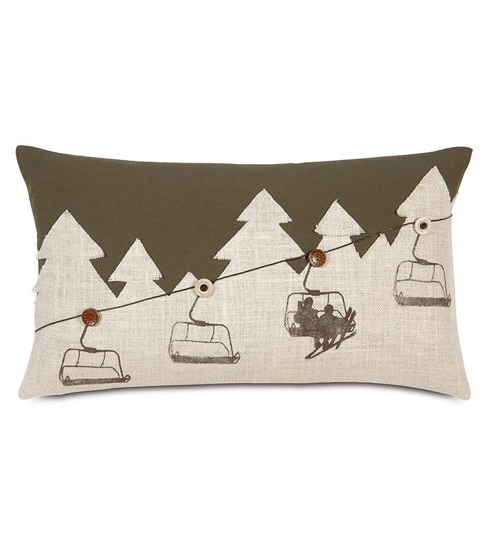 Lodge Ski Lift Decorative Pillow - ,BURLAP PILLOW,BURLAP FABRIC,SKI PILLOW,SKI DECOR,BURLAP,SKI LIFT,MOUNTAIN DECOR,LODGE PILLOW,LODGE DECOR,OLIVE PILLOW,SKIING DECOR,RUSTIC PILLOW,RUSTIC DECOR,BLOCKPRINTING,