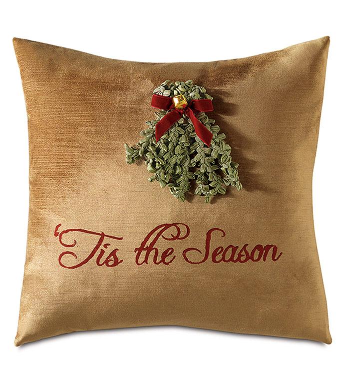 Lucerne Mistletoe Decorative Pillow - ,MISTLETOE PILLOW,MISTLETOE DECORATIONS,CHRISTMAS DECORATIONS,CHRISTMAS PILLOW,CHRISTMAS BEDDING,HOLIDAY BEDDING,HOLIDAY DECORATIONS,TIS THE SEASON,XMAS PILLOW,