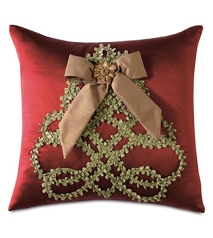 Lucerne Tree Decorative Pillow - ,RED SILK,CHRISTMAS PILLOW,CHRISTMAS DECOR,CHRISTMAS DECORATIONS,RED CHRISTMAS PILLOW,HOLIDAY DECORATIONS,CHRISTMAS TREE PILLOW,FAUX SILK,RED SILK PILLOW,CHRISTMAS BEDDING,