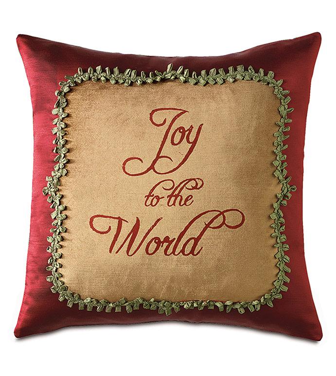 Lucerne Blockprinted Decorative Pillow - ,CHRISTMAS PILLOW,CHRISTMAS DECOR,CHRISTMAS BEDDING,JOY TO THE WORLD,HOLIDAY BEDDING,GOLD VELVET PILLOW,XMAS PILLOW,CHRISTMAS DECORATIONS,GOLD AND RED PILLOW,HOLIDAY DECOR,