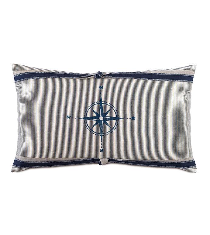 Harbor Blockprinted Decorative Pillow - ,COMPASS,COMPASS PILLOW,NAUTICAL DESIGN,NAUTICAL DECOR,NAUTICAL PILLOW,COASTAL DECOR,BOAT DECOR,BOAT PILLOW,MARITIME PILLOW,MARITIME,BLOCKPRINTING,SAILOR PILLOW,