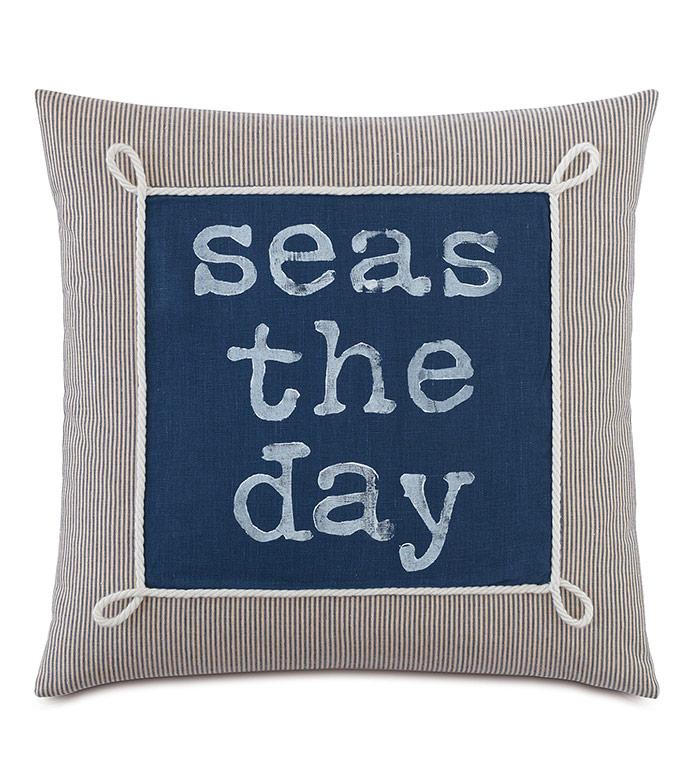 Bay Blockprinted Decorative Pillow in Seas - ,SEAS THE DAY,NAUTICAL PILLOW,NAUTICAL DESIGN,NAUTICAL DECOR,MARITIME PILOW,BLOCKPRINTED PILLOW,COASTAL DECOR,COASTAL PILLOW,BOAT DECOR,BOAT PILLOW,SAILING,SAILING DECOR,