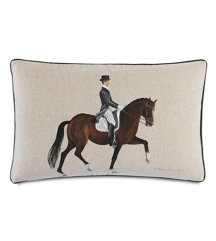 Azra Handpainted Decorative Pillow in Gait - ,EQUESTRIAN PILLOW,EQUESTRIAN DECOR,HORSE RACE PILLOW,HANDPAINTED PILLOW,KENTUCKY DERBY,HORSE RIDING,HORSE RIDING DECOR,TRADITIONAL DECOR,HORSE PAINTING,EQUESTRIAN HOME,