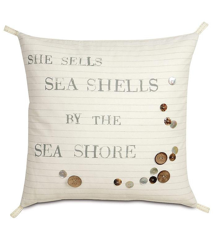 Shell Blockprinted Decorative Pillow - ,MARITIME DECOR,MARITIME PILLOW,NAUTICAL PILLOW,NAUTICAL DECOR,SHELLS BY THE SHORE,BLOCKPRINTED PILLOW,COASTAL DECOR,NAUTICAL DECOR,BEACH HOUSE DECOR,BEACH HOUSE PILLOW,