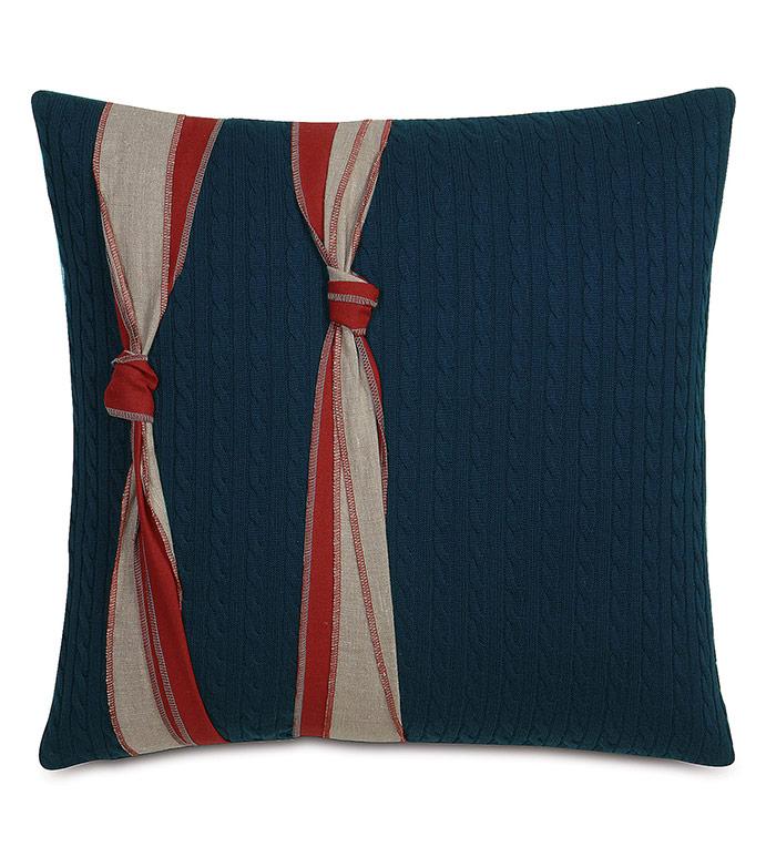 Harbor Knots Decorative Pillow in Red - ,NAUTICAL PILLOW,CABLEKNIT PILLOW,NAVY PILLOW,NAUTICAL DECOR,NAUTICAL KNOT,COASTAL DECOR,COASTAL PILLOW,MARITIME INTERIOR,MARITIME PILLOW,BOAT PILLOW,BOAT DECOR,