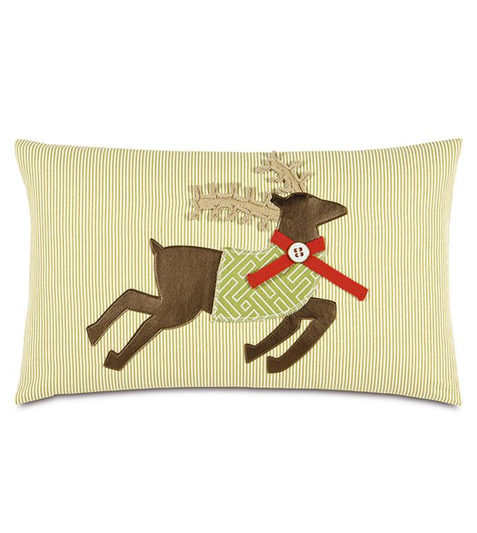 Jingle Reindeer Decorative Pillow - ,REINDEER,REINDEER DECOR,REINDEER PILLOW,PRANCER PILLOW,CHRISTMAS DECOR,REINDEER DECORATIONS,CHRISTMAS PILLOW,XMAS PILLOW,XMAS DECOR,DEER PILLOW,HOLIDAY DECOR,