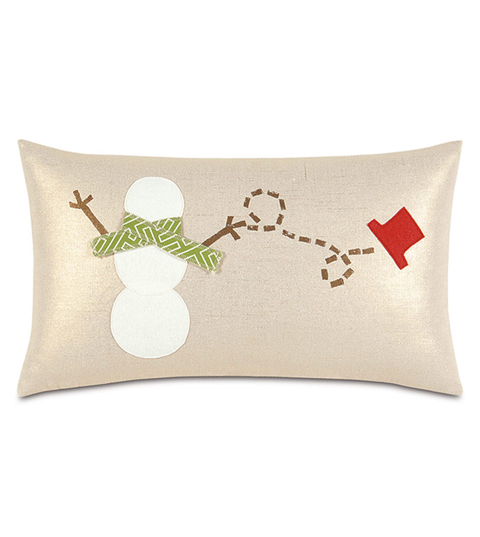 Lilly Snowman Decorative Pillow - ,SNOWMAN DECOR,SNOWMAN PILLOW,BLOCKPRINTED PILLOW,SNOWMAN DECORATIONS,HOLIDAY DECOR,HOLIDAY PILLOW,CHRISTMAS DECOR,CHRISTMAS PILLOW,SNOWMAN,METALLIC PILLOW,GLAM CHRISTMAS,