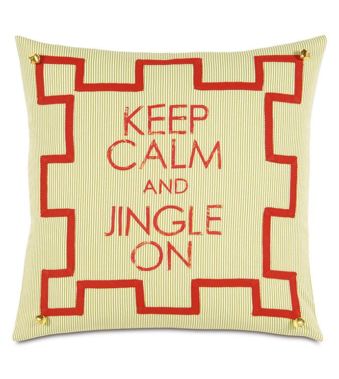 Jingle Blockprinted Decorative Pillow - ,HANDPAINTED PILLOW,KEEP CALM CHRISTMAS,JINGLE BELLS,CHRISTMAS DECOR,CHRISTMAS PILLOW,HOLIDAY DECOR,FESTIVE DECOR,FESTIVE PILLOW,XMAS PILLOW,CHRISTMAS DECORATIONS,