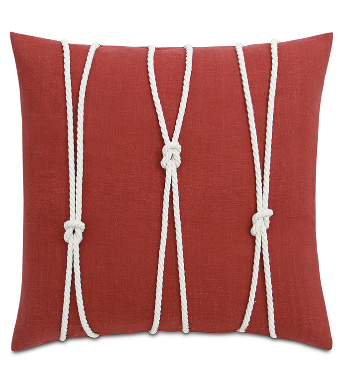 Isle Yacht Knots Decorative Pillow in Scarlet - ,YACHT KNOTS,NAUTICAL PILLOW,NAUTICAL DECOR,LINEN PILLOW,NAUTICAL LINEN,KNOT PILLOW,SAIL KNOT,SAILING DECOR,HAMPTONS DECOR,COASTAL DECOR,COASTAL PILLOW,NEUTRAL NAUTICAL,RED LINEN,