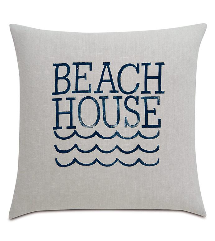 Cove Blockprinted Decorative Pillow in Beach - ,GRAY LINEN,LINEN BEDDING,BEACH HOUSE DECOR,BEACH PILLOW,COASTAL PILLOW,NAUTICAL PILLOW,COASTAL DECOR,NAUTICAL DECOR,MARITIME DECOR,BEACH HOUSE INTERIORS,BOAT PILLOW,BOAT DECOR,