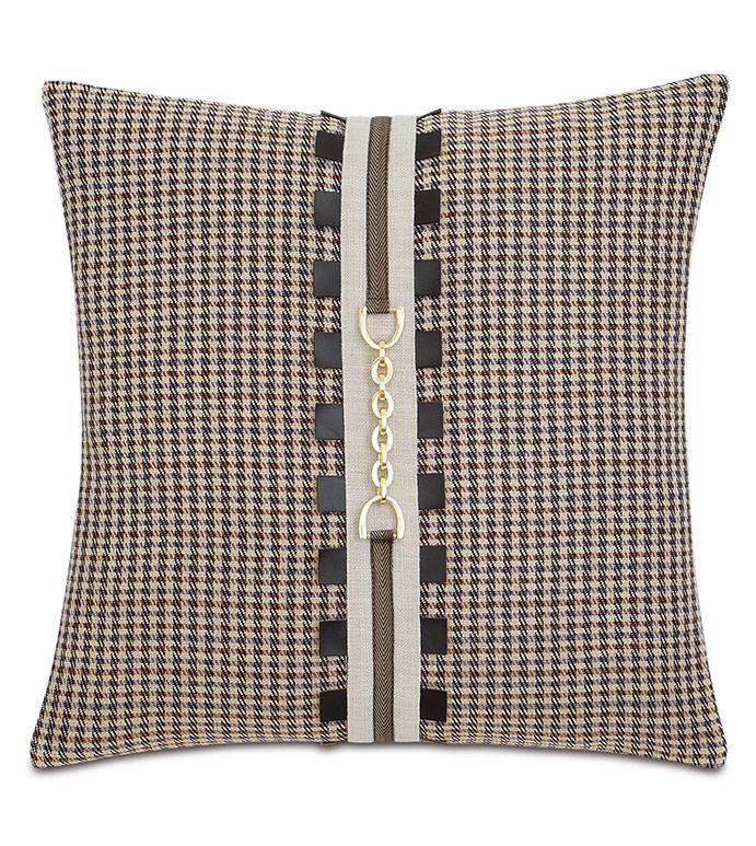 Aiden Houndstooth Decorative Pillow - ,20X20 PILLOW,EQUESTRIAN PILLOW,EQUESTRIAN DECOR,HOUNDSTOOTH PILLOW,HOUNDSTOOTH BEDDING,EQUESTRIAN BEDDING,BROWN PILLOW,BUCKLE PILLOW,HOUNDSTOOTH PRINT,EQUESTRIAN,