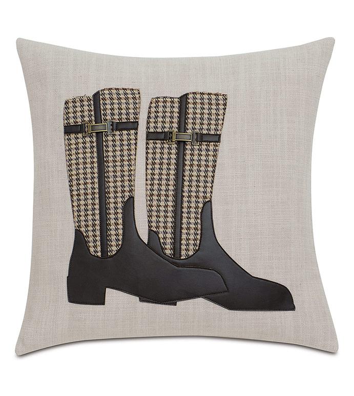 Equestrian Boots Decorative Pillow - ,EQUESTRIAN PILLOW,HOUNDSTOOTH PILLOW,EQUESTRIAN BOOTS,KENTUCKY DERBY,HOUNDSTOOTH PILLOW,HORSE RIDING PILLOW,EQUESTRIAN DECOR,HORSE RACING DECOR,HORSE RACING,TRADITIONAL DECOR,