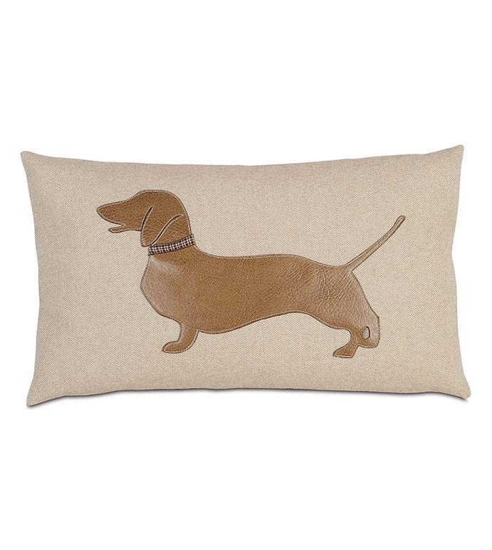 Dachshund Applique Decorative Pillow - ,DACHSHUND,DACHSHUND PILLOW,DACHSHUND DOG PILLOW,SAUSAGE DOG PILLOW,WIENER DOG PILLOW,DOG DECOR,PET DECOR,PET PILLOW,