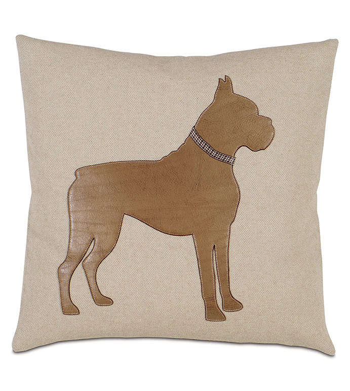 Boxer Applique Decorative Pillow - ,BOXER DOG PILLOW,DOG PILLOW,BOXER PILLOW,BOXER ACCESSORY,BOXER DECOR,BOXER DOG,BOXER,DOG PILLOW,DOG DECOR,PET DECOR,BOXER DESIGN,PET PILLOW,