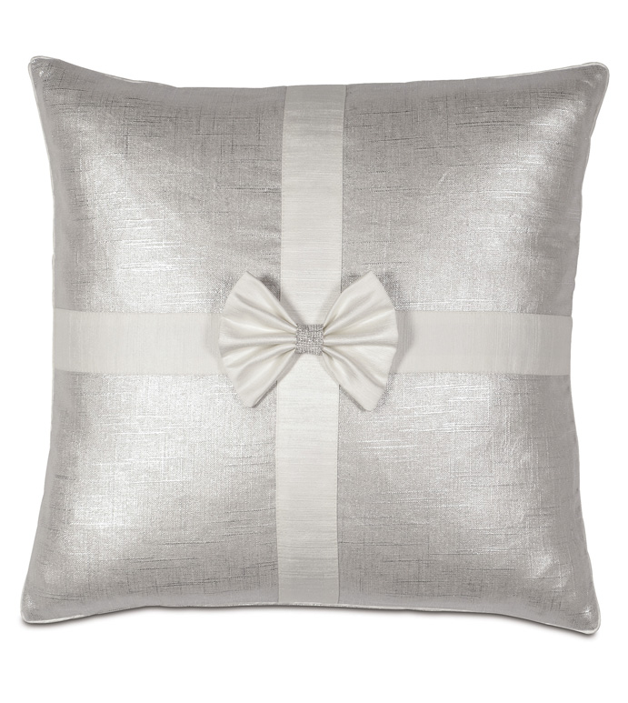 Gift Bow Decorative Pillow in Silver - ,BOW PILLOW,CHRISTMAS BOW,FESTIVE BOW,SILVER BOW,GLAM HOLIDAY DECORATIONS,LUXURY HOLIDAY DECOR,SILVER CHRISTMAS PILLOW,CHRISTMAS DECOR,LUXURY CHRISTMAS,HOLIDAY DECOR,