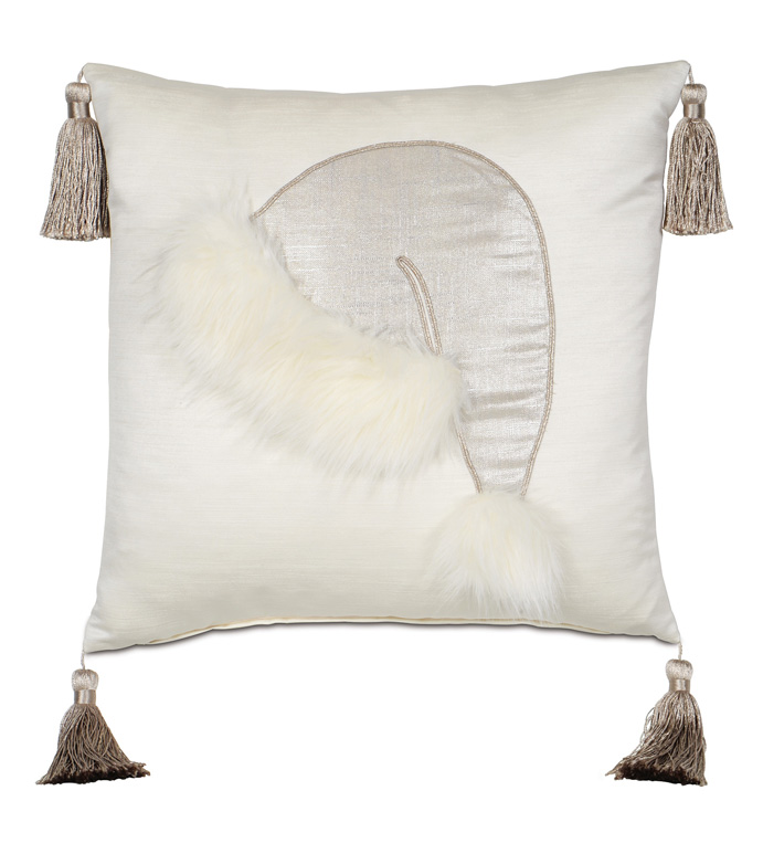 Santa Faux Fur Decorative Pillow - ,SANTA'S HAT,CHRISTMAS HAT,SANTA DECORATIVE PILLOW,SANTA'S CAP,SILVER HOLIDAY DECORATIONS,GLAM HOLIDAY DECOR,CHRISTMAS PILLOW,SILVER FESTIVE PILLOW,GLAM HOLIDAY PILLOW,SANTA PILLOW