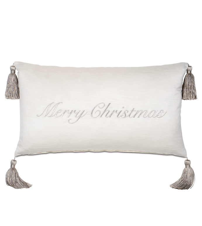 Christmas Embroidered Decorative Pillow in Silver - ,MERRY CHRISTMAS PILLOW,SILVER CHRISTMAS,CHRISTMAS EMBROIDERY,GLAM CHRISTMAS,CHRISTMAS PILLOW,CHRISTMAS DECOR,XMAS PILLOW,HOLIDAY DECOR,LXUURY CHRISTMAS,