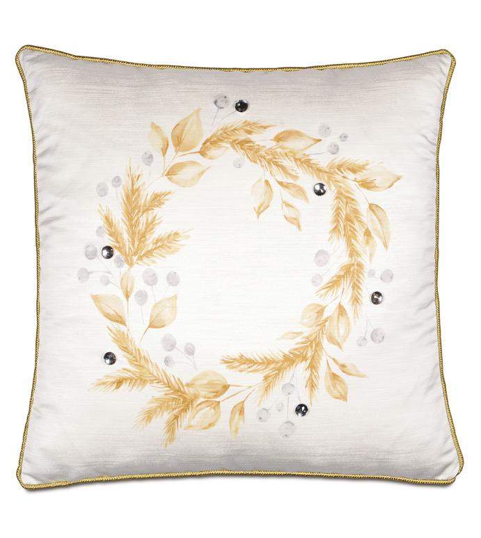 Glisten Handpainted Decorative Pillow - ,WREATH PILLOW,CHRISTMAS WREATH,GOLD WREATH,HOLIDAY DECOR,HOLIDAY PILLOW,CHRISTMAS DECOR,CHRISTMAS PILLOW,FESTIVE PILLOW,GLAM CHRISTMAS,LUXURY CHRISTMAS,
