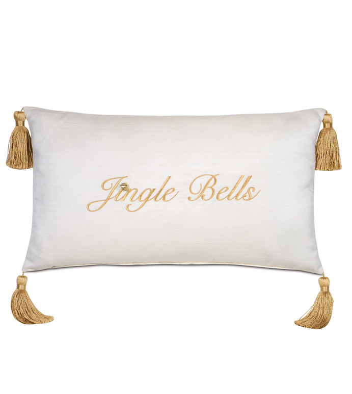 Christmas Embroidered Decorative Pillow in Gold - ,JUNGLE BELLS PILLOW,SILVER CHRISTMAS,CHRISTMAS EMBROIDERY,GLAM CHRISTMAS,CHRISTMAS PILLOW,CHRISTMAS DECOR,XMAS PILLOW,HOLIDAY DECOR,LUXURY CHRISTMAS,JINGLE BELLS,GOLD EMBROIDERY,
